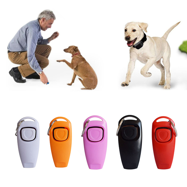 New 2 In 1 Cute Shape Dog Whistle Clicker Pet Dog Trainer Aid Guide With Key Ring Dog Training Whistle Dog Products Pet Supplies 1