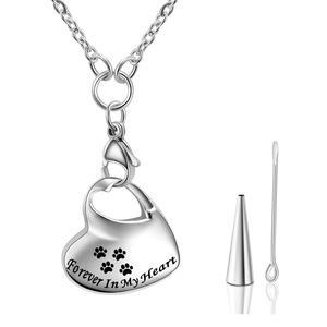 Унисекс животное из нержавеющей стали, собака/кошка ювелирные изделия лапа печать кремации ювелирных изделий держатель для пепла животное ожерелье с урной на память для памяти