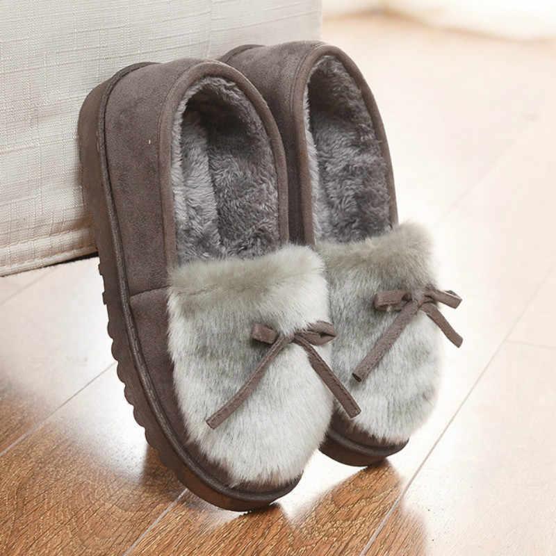 Dropshipping 2019 รองเท้าแตะรองเท้าผู้หญิงฤดูหนาว Bowtie Plush ภายใน Loaferes สุภาพสตรีในร่มบ้าน Pantuflas Ladies ลื่นบน