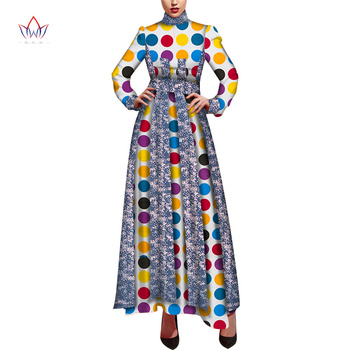 new Danshiki Africa Dress for Women Bazin Riche Sexy Wedding Party long sleeve long Dress Traditional African Clothing WY5677