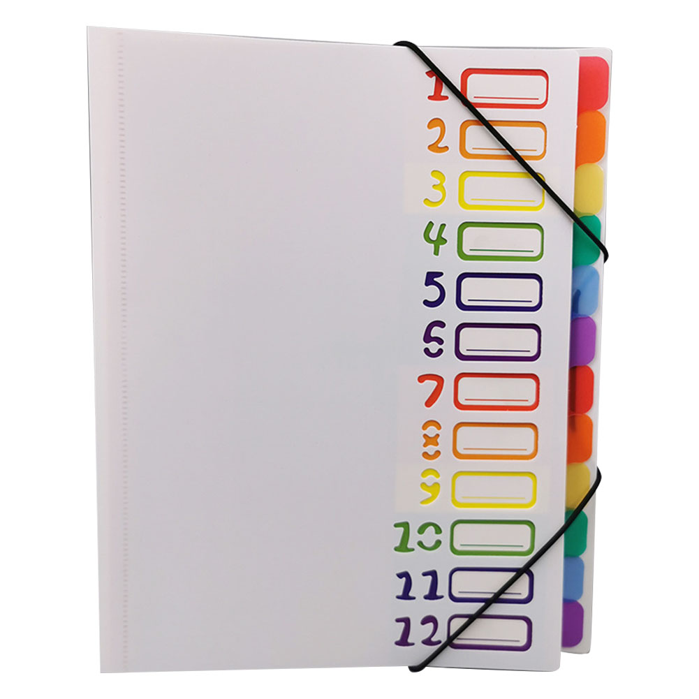 A4 Holder Rainbow Portable Organizer File Folder Stationery PP Storage 12 Pages Document School With Slash Pockets Office Gifts