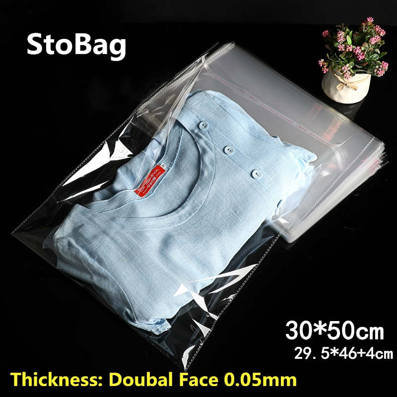 StoBag 100pcs 30*50cm Clear Self Adhesive Resealable Opp Clothing Bags Packing Transparent Plastic Bags Gift Bag Cellophane Bag