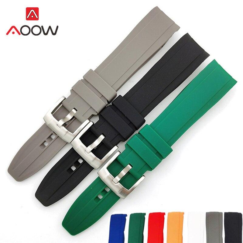 Ремешок силиконовый для мужских наручных часов, спортивный водонепроницаемый резиновый сменный Браслет с пряжкой из нержавеющей стали с и...