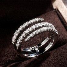 Huitan moda surround em forma de anéis de dedo para as mulheres de cristal brilhante cz festa de casamento anéis de noiva declaração jóias inteiro venda