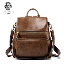 LAORENTOU Brand Women Backpacks Genuine Leather Backpack Female Original Travel School Bag Soft Fashion Vintage Shoulder Bags стоимость
