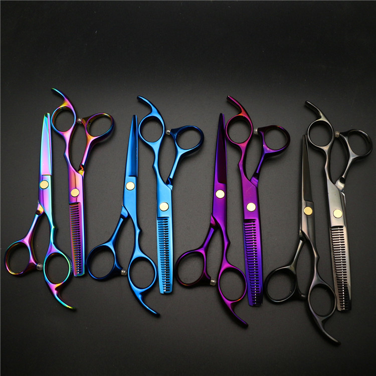 5.5-Inch Color Scissors Plating Color Hairdressing Scissors Combination Hairdressing Thinning Scissors Manufacturers Direct Sell