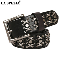 LA SPEZIA Punk Rock Belts for Women Men Real Leather Motorcycle Style Buckle Male Female Cool Rivet Black Brown Waist Belt