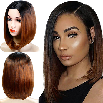 Allaosify Synthetic Medium Bob Wig Ombre Blonde Straight Hair Wigs for Black Women Side Part Two Colorful Ombre bob style grey ombre white fashion medium synthetic straight side bang capless wig for women page 1