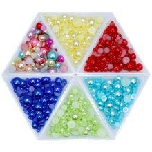 Полукруглые Разноцветные Бусины из АБС пластика с имитацией