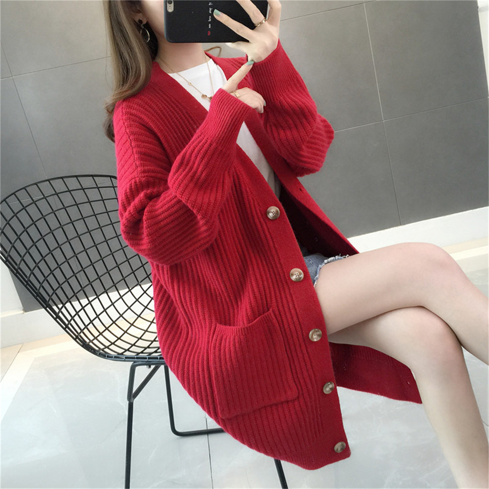 Casual Women Cardigan Autumn Winter Sweaters Trendy Female Solid Long Sleeve Pockets Cardigans Spring Ladies Black Red Sweaters