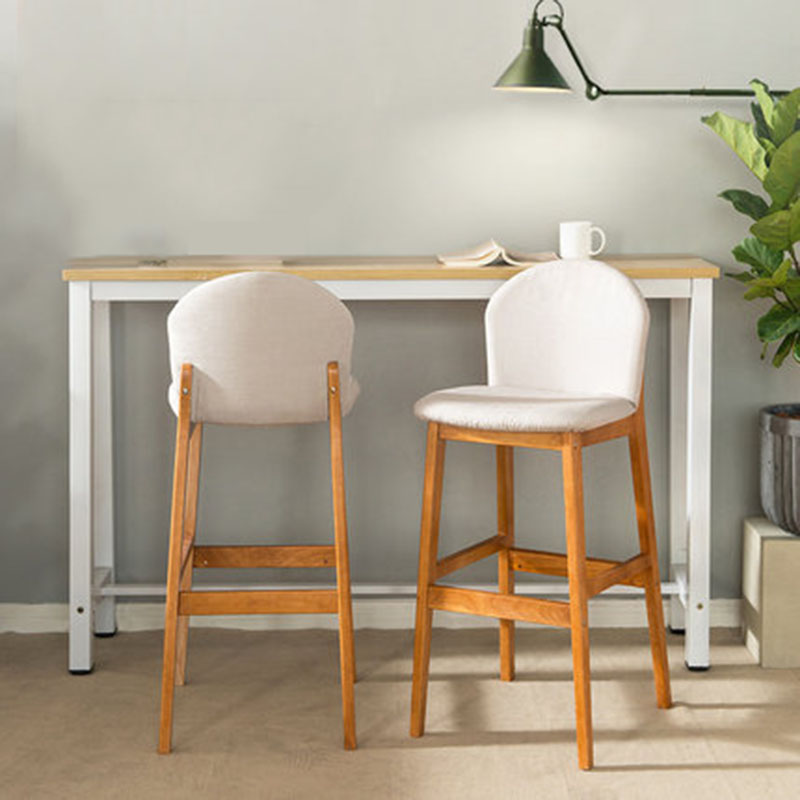 Bar Stool Solid Wood Modern Minimalist Home High Stool Bar Chair Colourful Backrest Dining Chair Family Business Cafe Front Desk