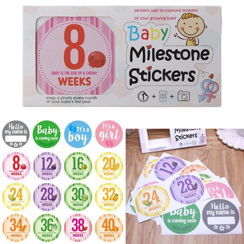 16 Pcs Pregnancy Baby Milestone Stickers - Pregnancy Announcement Photography Weekly Stickers, Gender Reveal,Week 8 - Week 40
