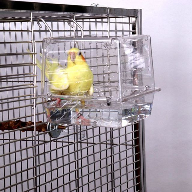Double Hook Hanging Upgraded Bird Bath Cage Adjustable Large with Clear View Pet 2