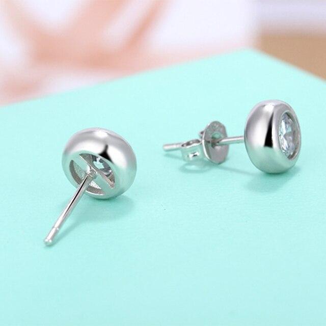 925 sterling silver earrings stud white zircon earrings Micro Inlay cubic zirconia stud earrings 2