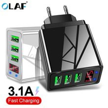OLAF USB Charger For iphone Charger LED Display 3 USB 5V 3A Fast Charging Wall Charger For iPhone Samsung Xiaomi Max 2 4A Charge cheap 5V 3A ROHS QC 3 0 USB Charger Universal APPLE Huawei Lenovo MEIZU SONY Nokia Motorola Blackberry Travel A C Source 100-240V 0 5A
