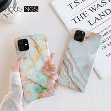 Glossy Jade Marble Phone Case For iPhone 11 Pro Luxury Smooth Soft Fundas Granite Painted Silicone Fashion Cover