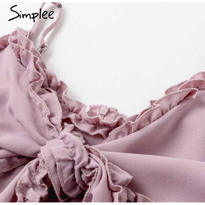 Simplee V-образным вырезом галстук-бабочка женщин платье Спагетти ремень летнее платье с высокой талией пляжное женское короткое хлопковое платье