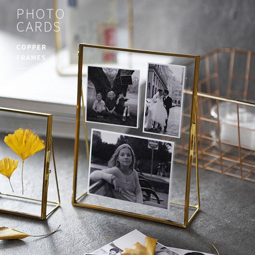 Античная латунная Стеклянная фоторамка для фотографий подвесная отдельно стоящая стеклянная металлическая фоторамка ретро портрет для до...