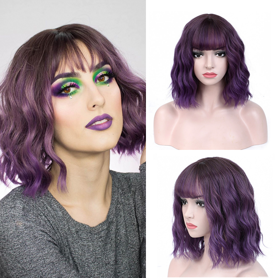 FREEWOMAN Purple Synthetic Wig Lolita Short Bob Wig With Bangs Cosplay Water Wave Synthetic Hair Wig Styled Wigs For Women Pink