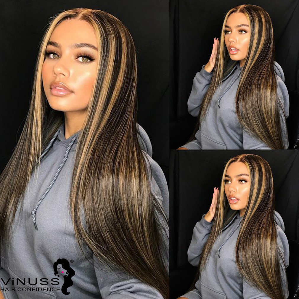 Honey Blonde Highlight  1B#/27# Blonde Ombre Human Hair 13x4 Lace Front Wigs PrePlucked Hairline Peruvian Remy Bleached Knots