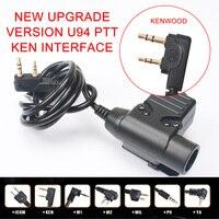Nova interface kenwood ptt adaptador u94 interfone interruptor de lançamento botão montagem empurrar para falar fone ouvido adaptador