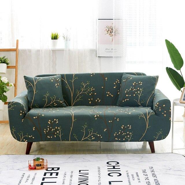 Фото чехол для дивана из эластичной ткани с цветочным принтом полноразмерный