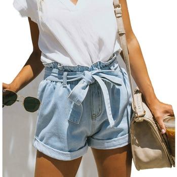 Vintage High Waist Harem Ruffle Short Jeans Women Summer Lightblue Denim Shorts with Belt Streetwear Jean Shorts Womens Bottoms ruffle trim self tie waist shorts