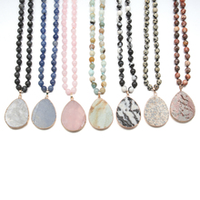 цена на 2019 Fashion 7 Colors Women Custom Pendant Necklace Jewelry Semi Precious Stones Long Necklaces Best Party Gift for Women Men