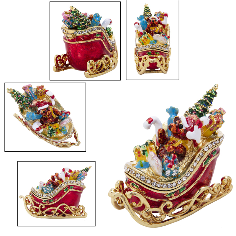 Handmade Xmas Wedding Decor Gift Crystal Crown carriage Trinket Box Ring Holder
