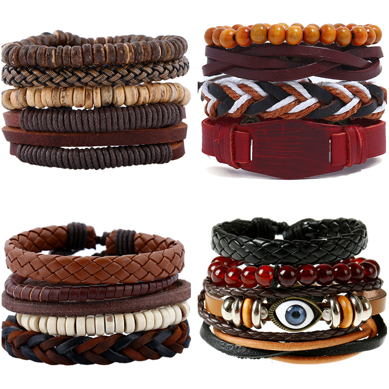 Punk 4pcs/Set Punk Genuine Wrap Leather Bracelets Sets Women Men Handmade Charm Wood Beads Bracelets Cuff Jewelry Accessories