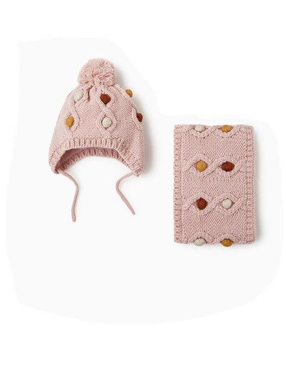 Autumn And Winter New Style Duoduo Double Layer Baby Infant Child BOY'S Girls Knitted Yarn Hat Scarf Set