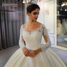 2020 رداء دي ماري الأميرة منتفخ الكرة ثوب الزفاف العروس 100% صور حقيقية