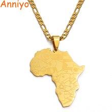 Anniyo Карта Африки Wth флаги стран карта кулон ожерелья для мужчин/женщин, золотой цвет карты Африки Ювелирные изделия Подарки#035321