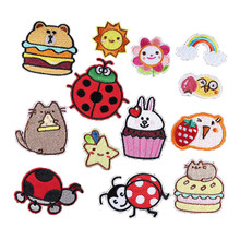 New Arrival Cute Animals Cartoon Embroidered Ladybug Kitten Bunny Iron On Patches For Clothing Dress Girls Apparel Accessories(China)