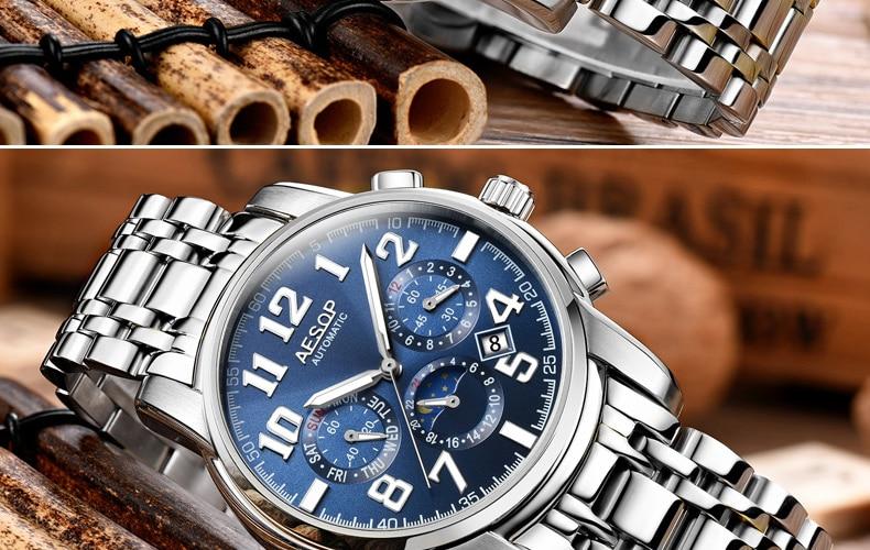 H0c2086773410475c8f0b29cbb590ef60N AESOP Luminous Automatic Mechanical Watch Men Luxury Brand Business Waterproof Stainless Steel Male Clock Relogio Masculino 2019