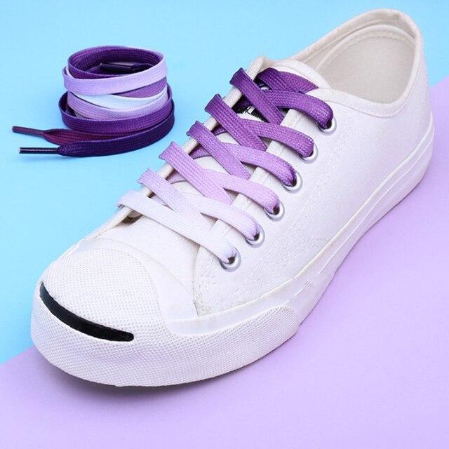 1 Pair Rainbow Flat Canvas Athletic Shoes laces Sport Sneaker Shoe Laces Boots#A