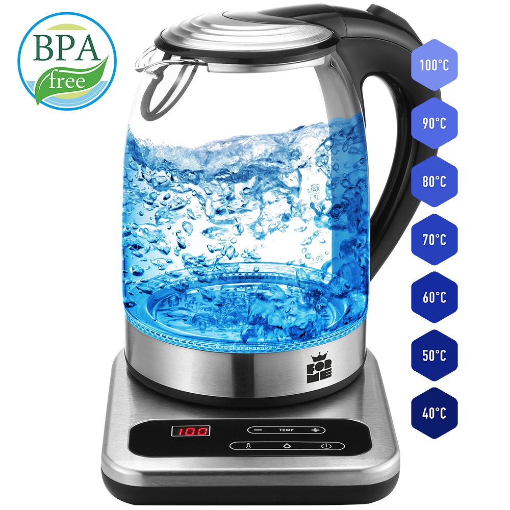 Glass Electric Kettle 1.7 L LED Tea Kettles Temperature Control 60-100 ° C Keep Warm Function Stainless Steel ForMe FKG1017