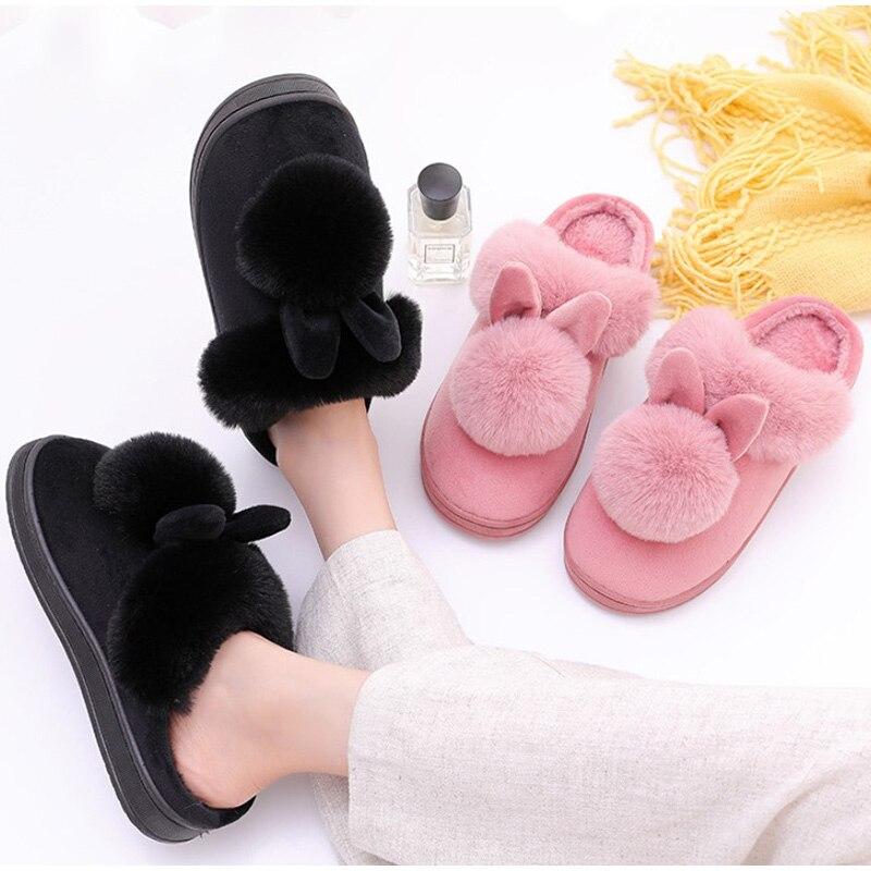 H0c20b99f792f47a0ab4ddcda3f0c8657W Chinelos de inverno feminino de veludo neve chinelo indoor casa sapatos plus size senhoras macio conforto sapatos peludo orelhas coelho pelúcia