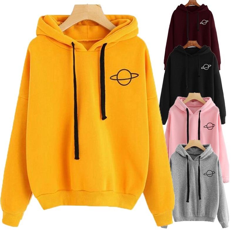 Women Hoodies Planet Print Casual Solid Loose Drawstring Sweatshirt Fashion Long Sleeve Hooded 2019 Autumn Female Pullover