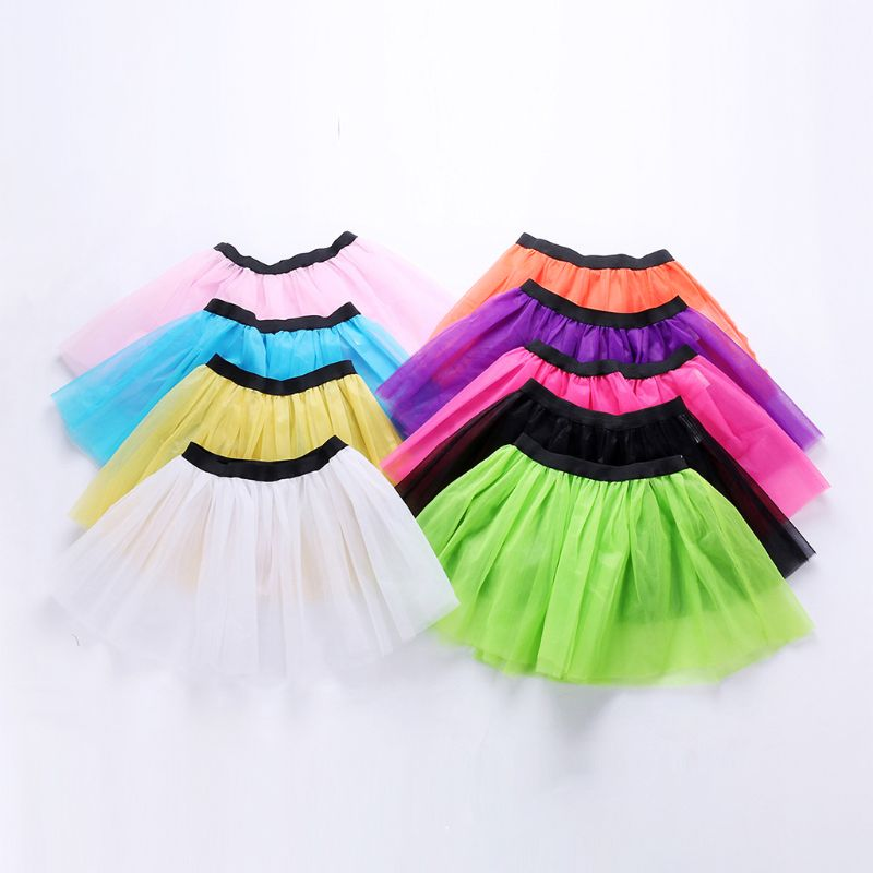 Womens Adult Three Layers Tutu Skirt Bright Candy Color Ballet Dance Costume Wide Waistband Princess Pleated Mesh Underskirt