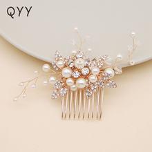 Qyy новейшие Цветочные Стразы свадебные аксессуары для волос