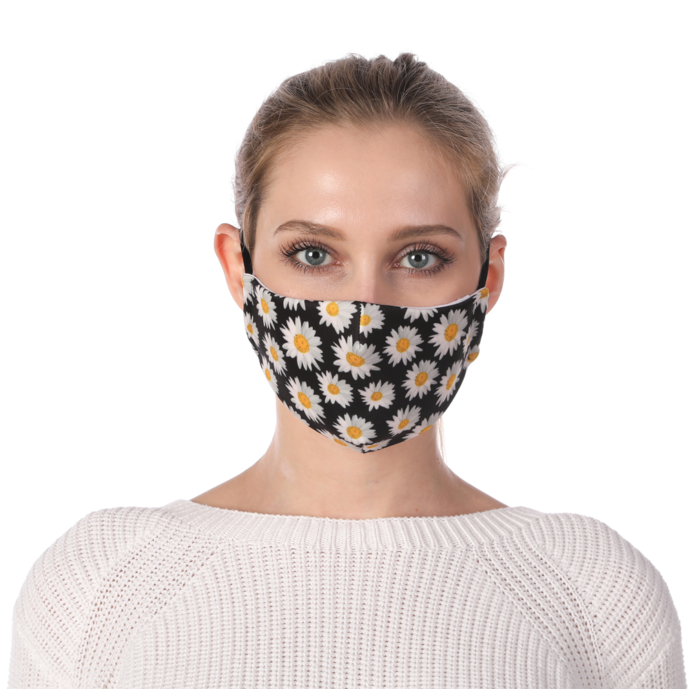 Zohra Chrysanthemum Printing Reusable Protective PM2.5 Filter Mouth Mask Anti Dust Face Mask Windproof Adjustable Face Masks