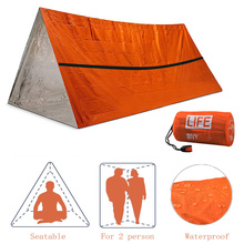 2Person Emergency Shelter Waterproof Thermal Blanket Rescue Survival Kit SOS Sleeping Bag Survival Tube Emergency Tent w Whistle
