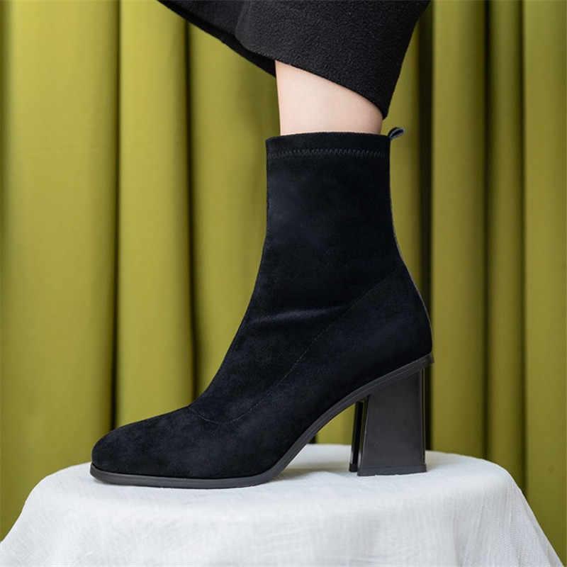 Prova Perfetto kontrast renk orange siyah blok yüksek topuklu ayakkabılar kadın streç kumaş kadın yarım çizmeler çorap patik boyutu 43