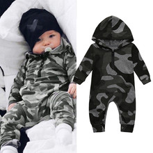 Baby Girls Romper Hot Sale Infant Baby Boys Cartoon Deer Print Hooded Long Sleeve Romper Jumpsuit Clothes