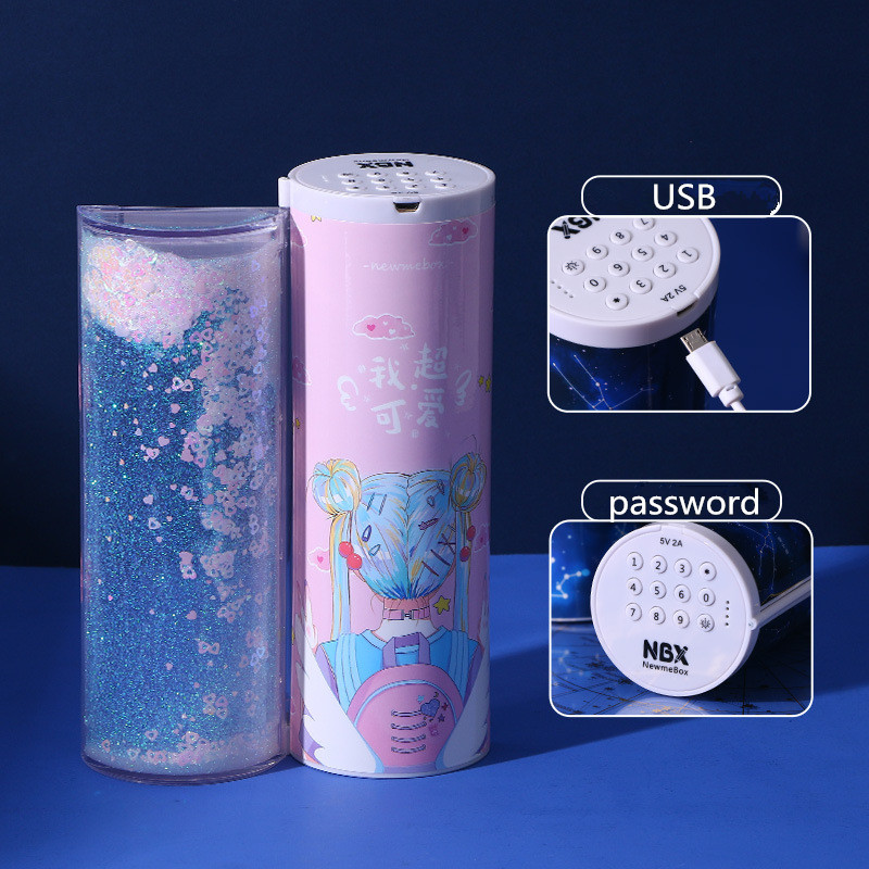 Translucent Quicksand Pencil Case Kawaii NBX Solar Calculator Pencil Box Estojo Escolar School Supplies Password Estuche Escolar