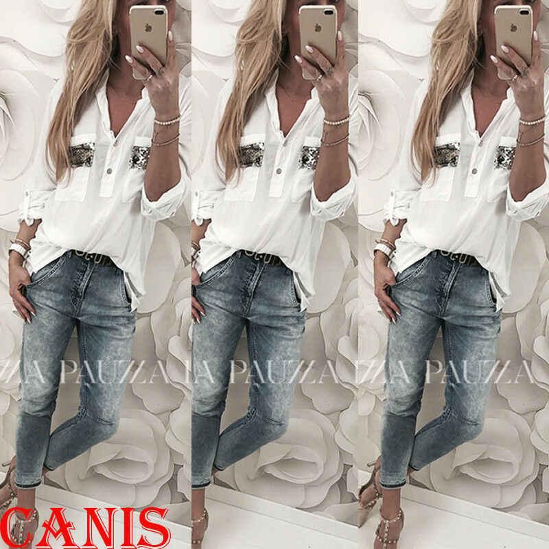 สตรีเสื้อฤดูใบไม้ผลิฤดูใบไม้ร่วง 2020 ใหม่แขนยาวลงต่ำตัด Sequined เสื้อสีขาวเสื้อลำลองเสื้อแฟชั่นเสื้อผ้า