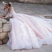 فساتين زفاف أدولي مي رائعة مزينة بأكمام طويلة على شكل حرف a لعام 2020 الساحرة رقبة سكوب زر فستان زفاف الأميرة مقاس كبير