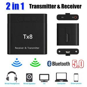 Image 5 - DISOUR TX8 5.0 Bluetooth alıcısı verici ses kontrol düğmesi ile 2 in 1 ses kablosuz adaptör için 3.5MM AUX araba TV PC