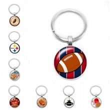 2019 New Football LOGO Key Ring Enthusiasts 25mm Glass Dome Gift Jewelry